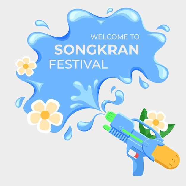 Płaski Napis Songkran Na Plusk Wody Darmowych Wektorów
