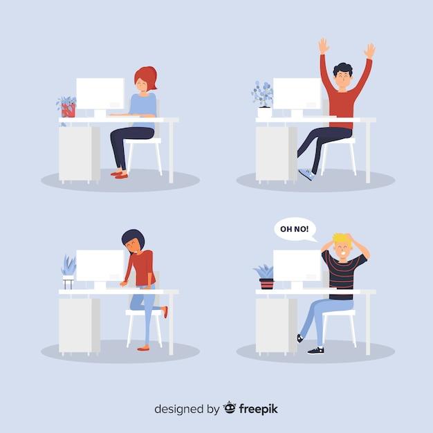 Płaski nastrój pracowników biurowych Darmowych Wektorów
