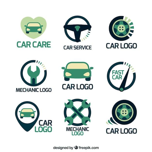 Płaski Opakowanie Z Logo Różnorodność Samochodów Premium Wektorów