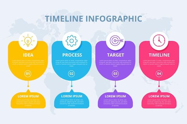 Płaski oś czasu infographic szablon Darmowych Wektorów