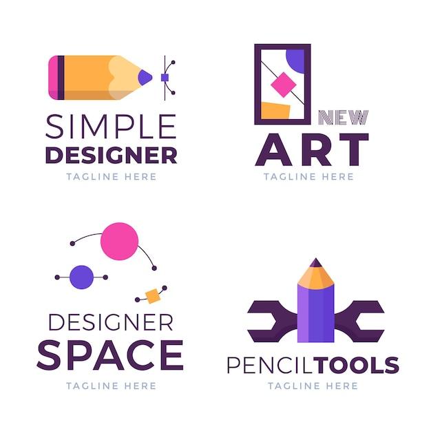 Płaski Pakiet Logo Projektanta Graficznego Darmowych Wektorów