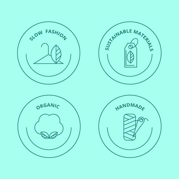 Płaski Pakiet Odznak W Stylu Slow Fashion Darmowych Wektorów