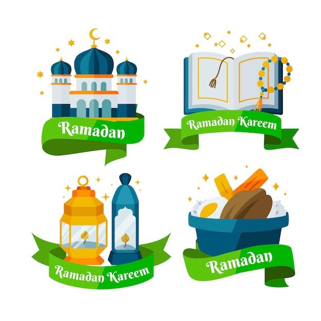 Płaski Pakiet Paczek Odznak Ramadan Darmowych Wektorów