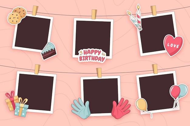 Płaski Pakiet Ramek Do Kolażu Urodzinowego Darmowych Wektorów