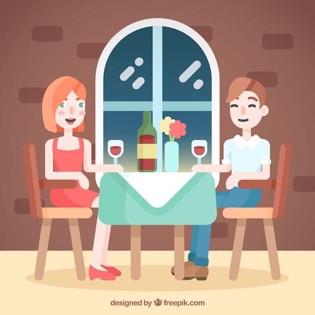 Płaski para romantyczna kolacja Darmowych Wektorów