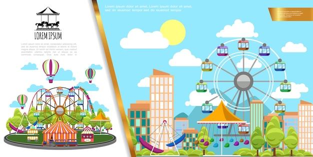 Płaski Park Rozrywki W Koncepcji Miasta Darmowych Wektorów