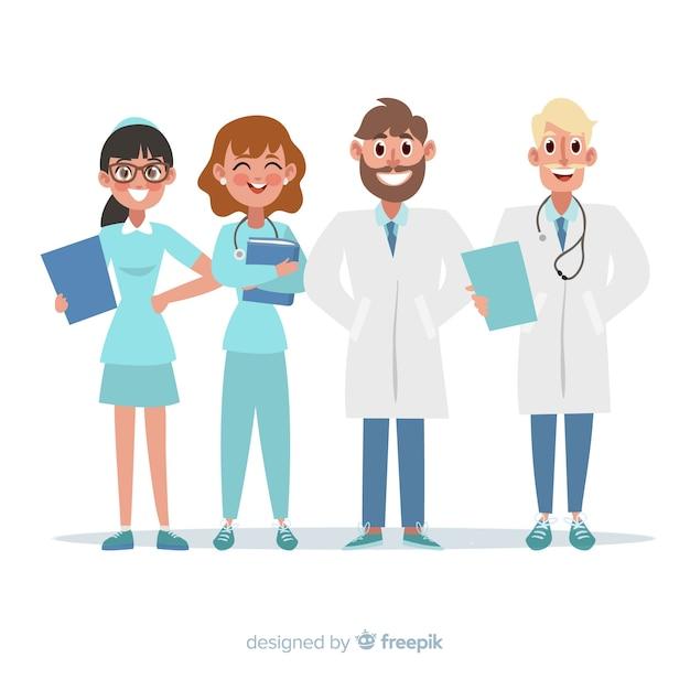 Płaski personel medyczny szpitala Darmowych Wektorów