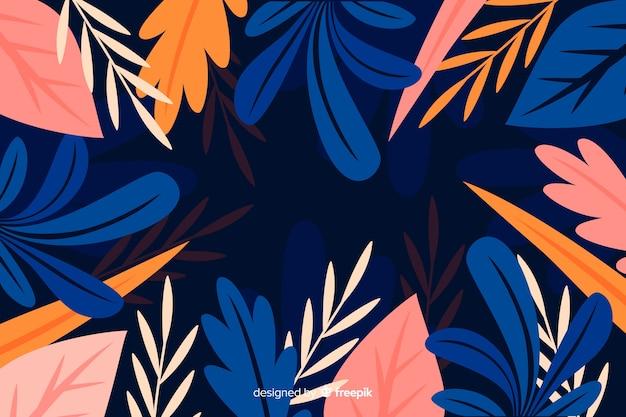Płaski piękny botaniczny tło styl Darmowych Wektorów