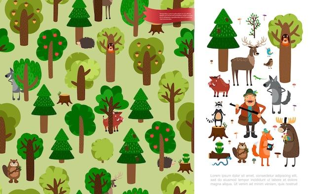 Płaski Piękny Las Z Uroczymi Zwierzętami Myśliwymi Ptaków Trzymającymi Broń, Drzewa I Kwiaty Ilustracja Darmowych Wektorów