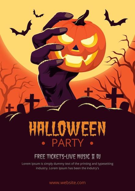 Płaski Plakat Halloween Party Darmowych Wektorów