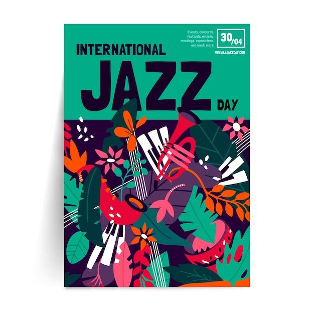 Płaski Plakat Międzynarodowego Dnia Jazzowego Darmowych Wektorów