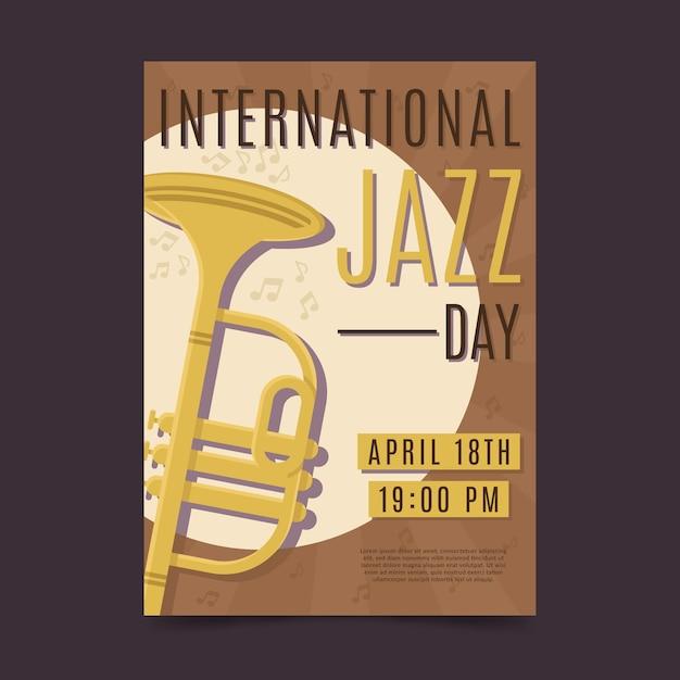 Płaski Plakat Międzynarodowego Dnia Jazzu Darmowych Wektorów
