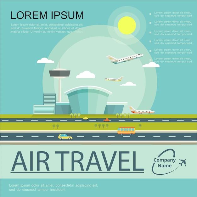 Płaski Plakat Podróży Lotniczych Darmowych Wektorów