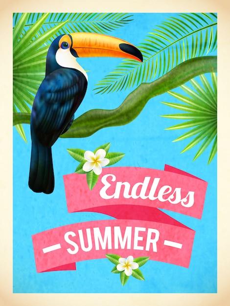 Płaski plakat toucan summer vacation Darmowych Wektorów