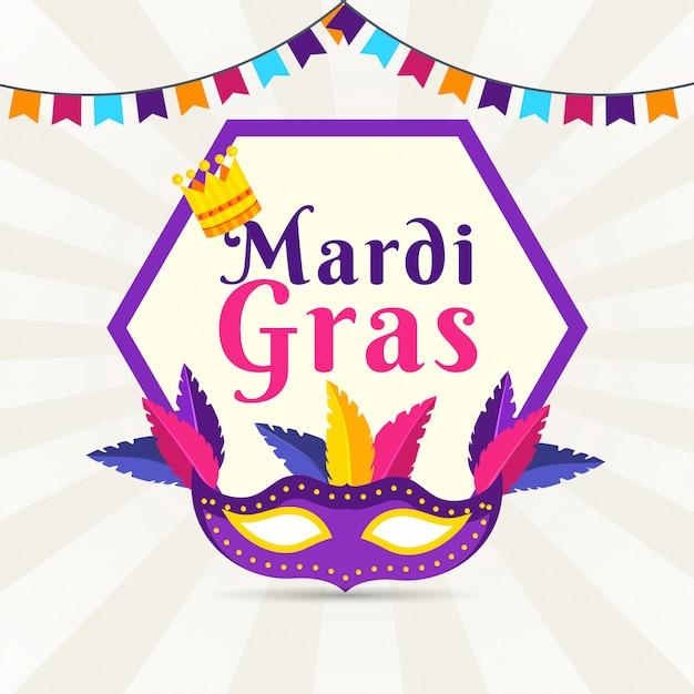 Płaski Plakat W Stylu Mardi Gras Premium Wektorów