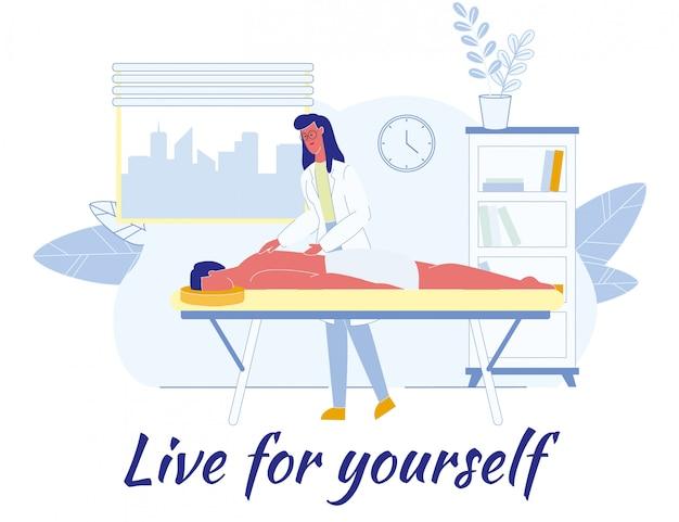 Płaski Plakat Z Afirmacją Live For Yourself Premium Wektorów