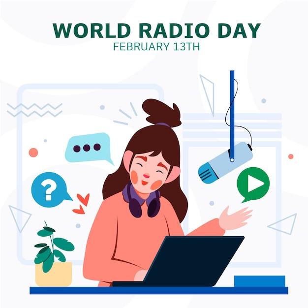 Płaski Podcast Online Na światowy Dzień Radia Darmowych Wektorów