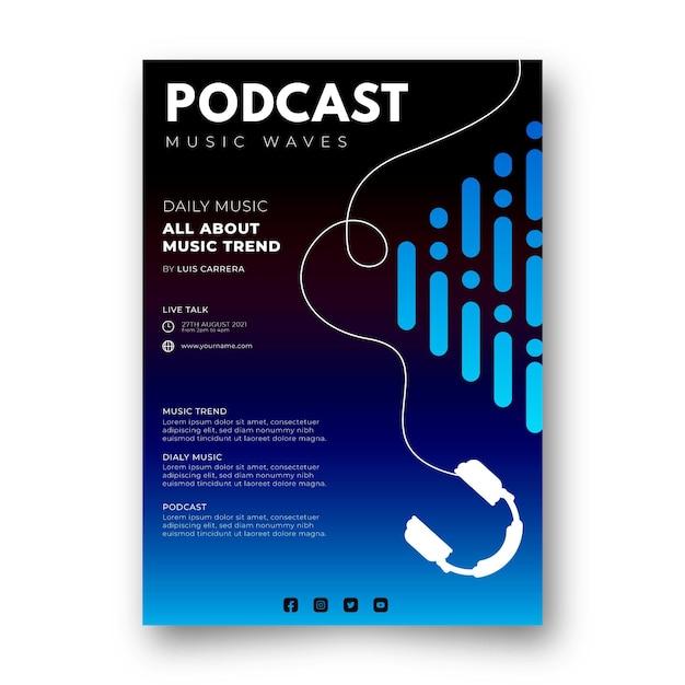 Płaski Podcast Z Szablonem Ulotki A5 Darmowych Wektorów