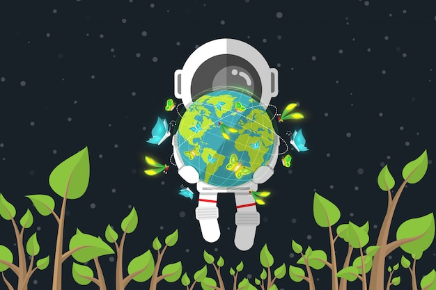 Płaski projekt, astronauta trzyma ziemię z motylem podczas gdy unoszący się wśród rośliny w przestrzeni, ochrony środowiska pojęcie, wektorowa ilustracja, infographic element Premium Wektorów