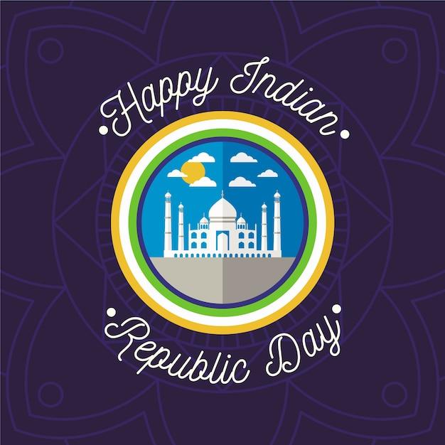 Płaski Projekt Dzień Republiki Indii Darmowych Wektorów