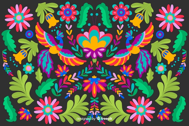Płaski projekt haftu kwiatowy tło Darmowych Wektorów