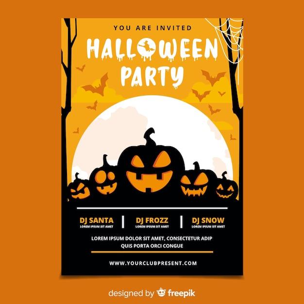 Płaski projekt halloween party plakat szablon Darmowych Wektorów