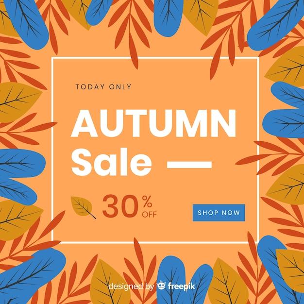 Płaski Projekt Jesieni Sprzedaży Tło Darmowych Wektorów