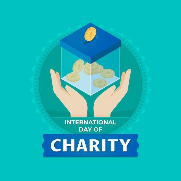 Płaski Projekt Międzynarodowego Dnia Charytatywnego Darmowych Wektorów