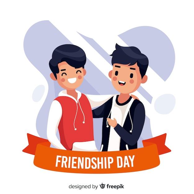 Płaski Projekt Przyjaźń Dzień Tło Premium Wektorów