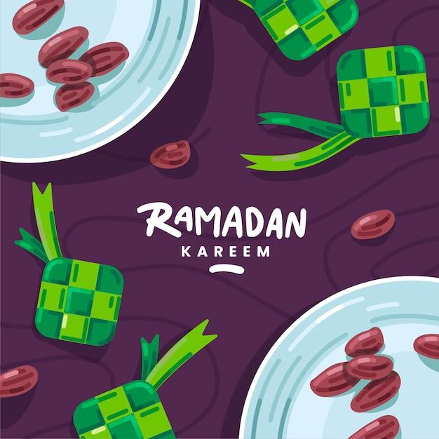 Płaski Ramadan Kareem Pozdrowienia Darmowych Wektorów
