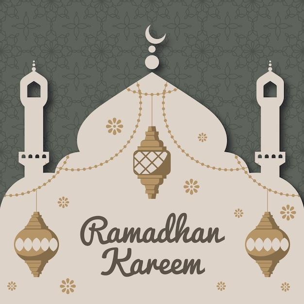 Płaski Ramadan W Stylu Papieru Darmowych Wektorów