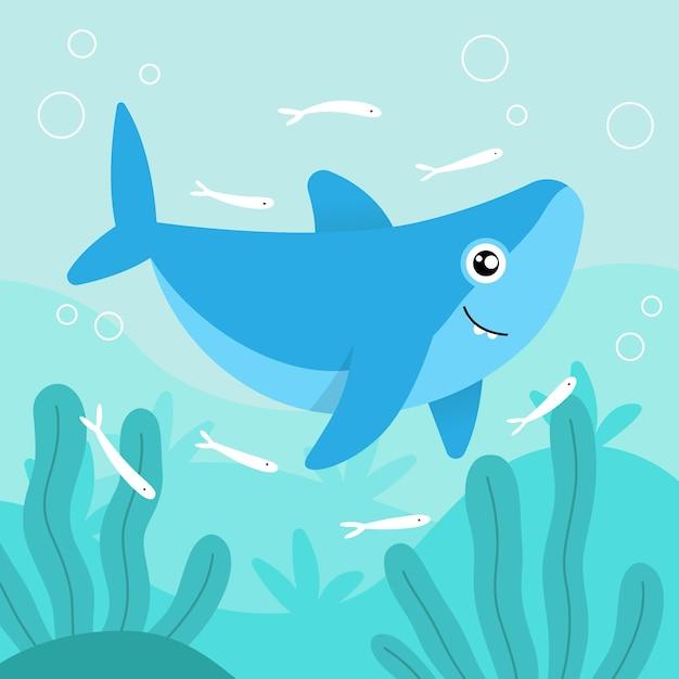 Płaski Rekin Dziecięcy I Małe Rybki Darmowych Wektorów