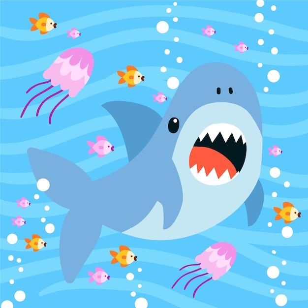 Płaski Rekin Dziecięcy W Stylu Cartoon Darmowych Wektorów