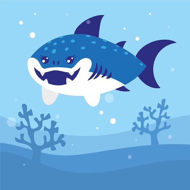Płaski Rekin Dziecięcy Darmowych Wektorów