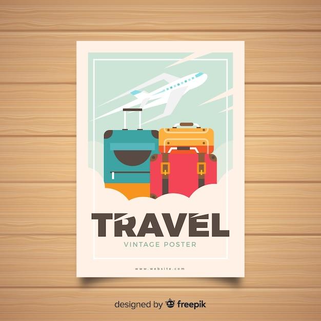 Płaski rocznika podróży plakat szablon Darmowych Wektorów