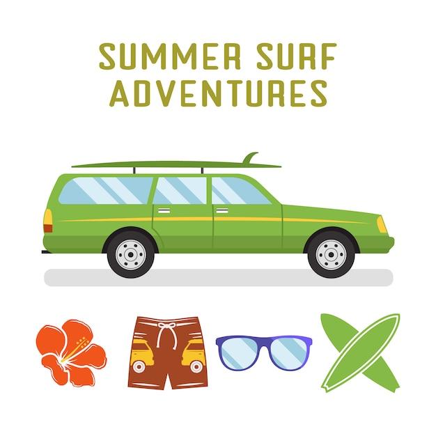 Płaski samochód surferski i elementy - deski surfingowe, okulary, kwiatki. odosobniony Premium Wektorów