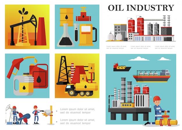 Płaski Skład Przemysłu Naftowego Z Platformą Wiertniczą Dla Zakładów Petrochemicznych Derrick Cysterny Na Paliwo Pracownicy Przemysłowi Beczki Ropy Puszki Pompa Stacja Benzynowa Darmowych Wektorów