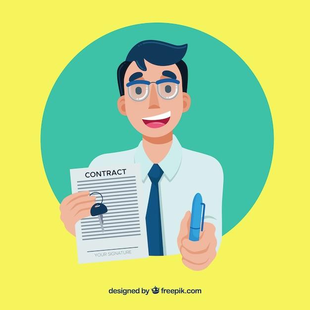 Płaski Sprzedawca Charakter Gospodarstwa Dokument Umowy Darmowych Wektorów
