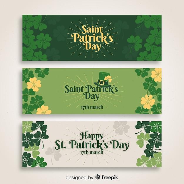Płaski St. Banner Patrick's Day Premium Wektorów
