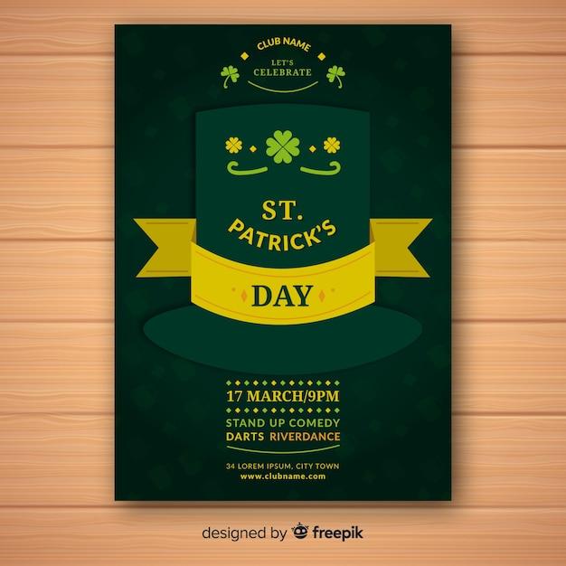 Płaski St. Szablon Ulotki Patrick's Day Darmowych Wektorów