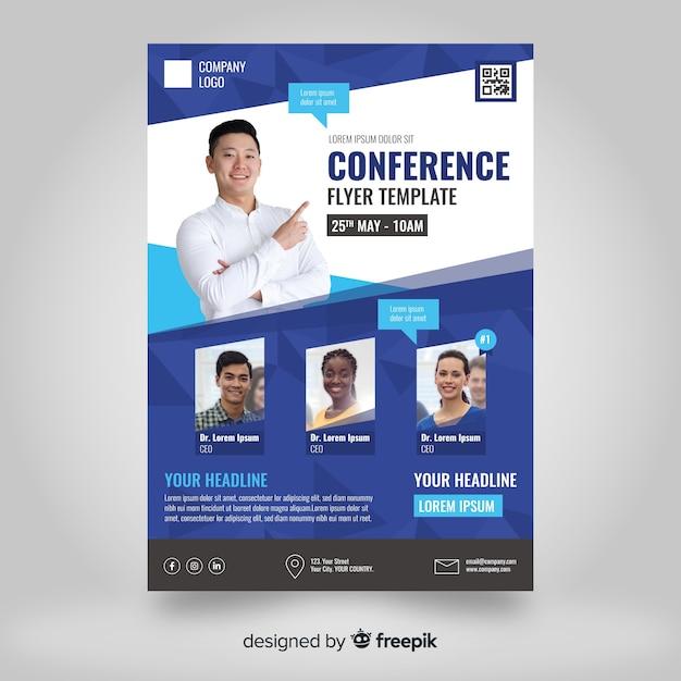 Płaski streszczenie biznes konferencji szablon ulotki Darmowych Wektorów