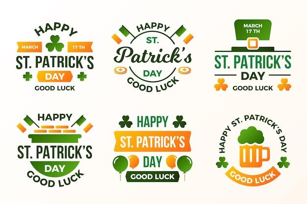 Płaski św. Zestaw Etykiet Patrick's Day Darmowych Wektorów