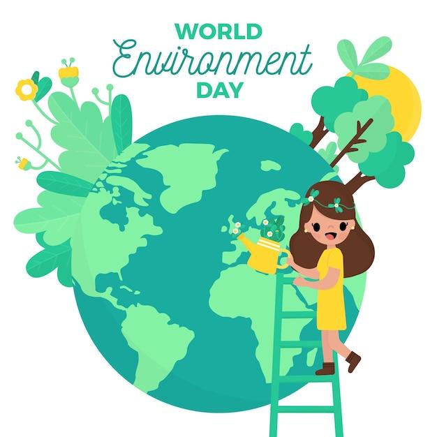 Płaski świat Ludzi Dzień środowiska Darmowych Wektorów