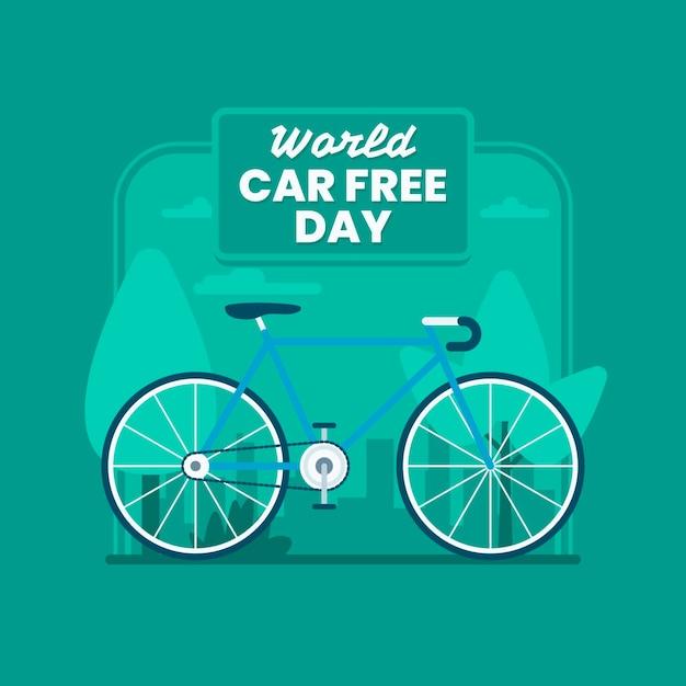 Płaski światowy Dzień Bez Samochodu Darmowych Wektorów