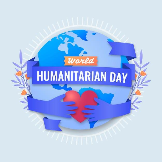 Płaski światowy Dzień Humanitarny Darmowych Wektorów