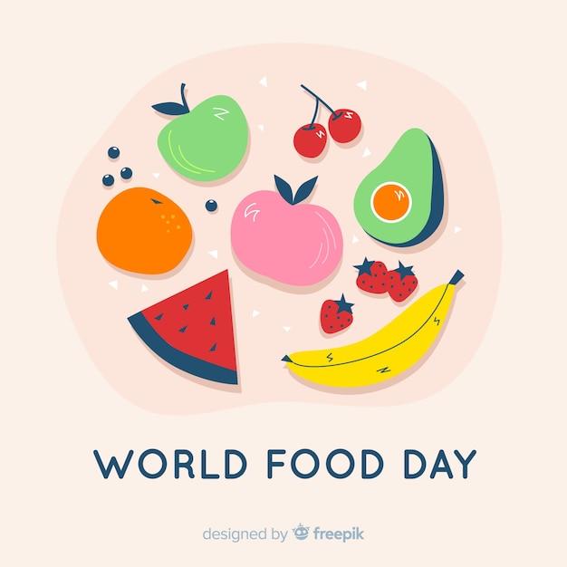 Płaski światowy dzień jedzenia z pomidorami Darmowych Wektorów