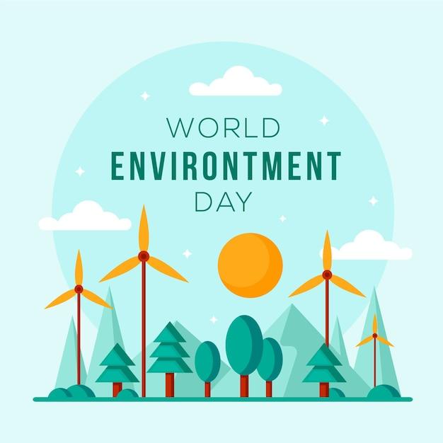 Płaski światowy Dzień Ochrony środowiska Darmowych Wektorów