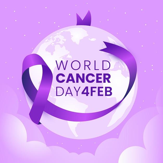 Płaski światowy Dzień Raka Fioletowa Wstążka Na Kuli Ziemskiej Premium Wektorów