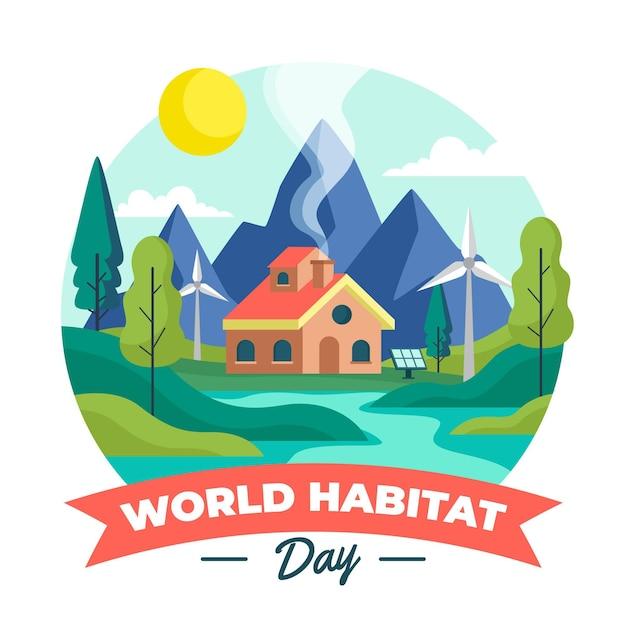 Płaski światowy Dzień Siedliska Ilustracja Darmowych Wektorów