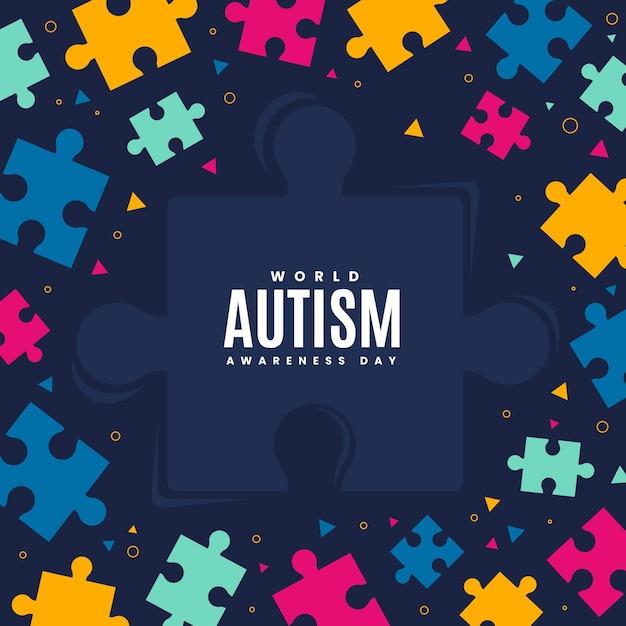 Płaski światowy Dzień świadomości Autyzmu Z Puzzlami Darmowych Wektorów